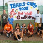 Zum ersten Mal veranstaltet der TVG ein Tenniscamp für Jugendliche - mit großem Erfolg. Hier ein Bild der Camp-Teilnehmer....